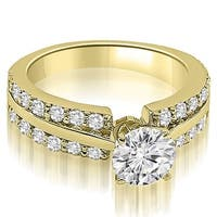 1.35 cttw. 14K Yellow Gold Two Row Round Cut Diamond Engagement Ring
