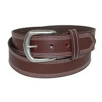 Boston Leather Men's Big & Tall Leather Contrast Triple Stitch Bridle Belt