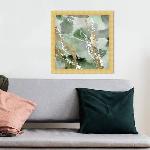 Oliver Gal 'Even More Love Green' Abstract Wall Art Framed Print Watercolor - Green, Gold
