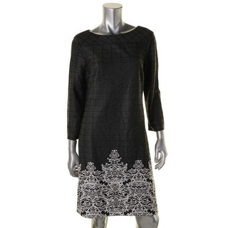 ECI Womens Printed 3/4 Sleeve Wear to Work Dress - M