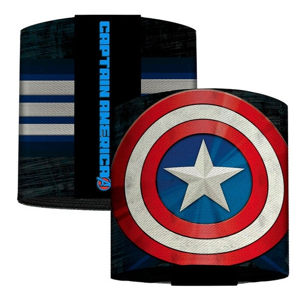 Marvel Avengers Captain America Shield Close Up Stripes Blues White Red Elastic Cuffs