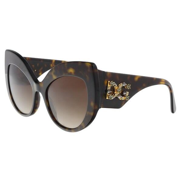 e70f985512f7 Shop Dolce   Gabbana DG4321 B50213 Havana Cat Eye Sunglasses - 55-20 ...