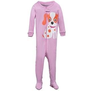 Elowel Little Girls Pink Dog Printed Zipper Footed Pajama Sleeper 2-5