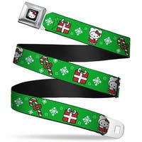 Hello Kitty W Red Bow Full Color Black Hello Kitty Christmas 1 Webbing Seatbelt Belt