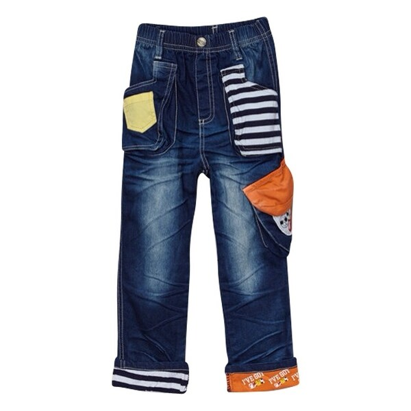 Rock'nStyle Baby Boys Dark Blue Stripe Pockets Patch Denim Pants