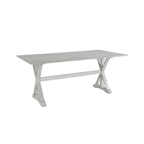 Farmhouse Distressed White Trestle Dining Table