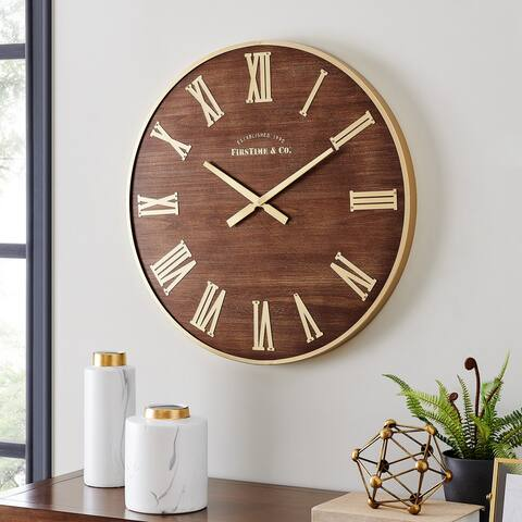 FirsTime & Co.® Maisy Mid Century Clock, American Crafted, Gold, Wood, 27 x 2.25 x 27 in - 27 x 2.25 x 27 in