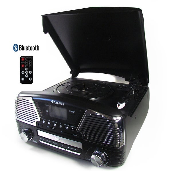 TechPlay ODC35BT Black 3 Speed Turntable W/Bluetooth, Programmab