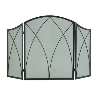 Pleasant Hearth 959  Arched 3-Panel Fireplace Screen - Black Powder Coated
