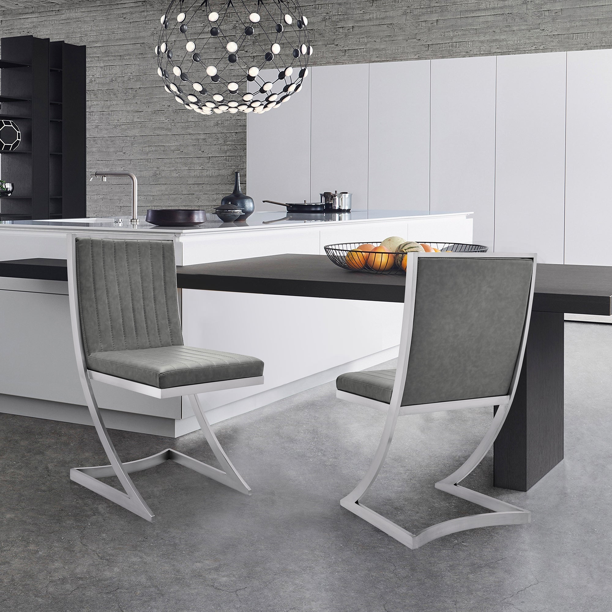 Marc Modern Faux Leather And Brushed Stainless Steel Dining Room Chairs Set Of 2 On Sale Overstock 32598296