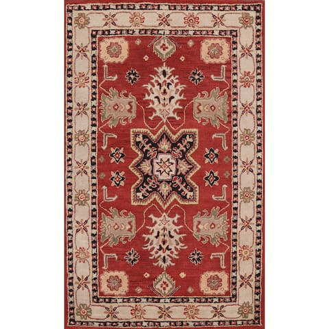 """Red Traditional Floral Oriental Wool Area Rug Hand-tufted Foyer Carpet - 5'0"""" x 8'0"""""""