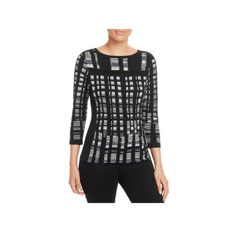 Nic + Zoe Womens Crystal Cove Pullover Top 3/4 Sleeves Boatneck