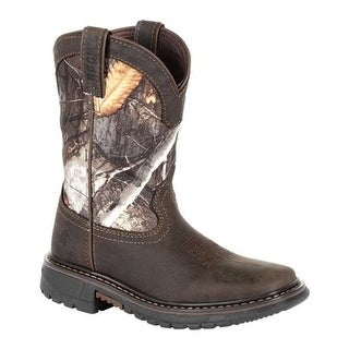 "Rocky Children's 8"" Ride FLX Waterproof Western Boot RKW0258C Brown Realtree Camo Full Grain Leather/Synthetic"