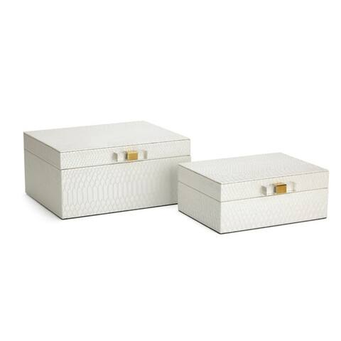 """Set of 2 Helga White Textured Leather Jewelry Boxes 10.25"""""""
