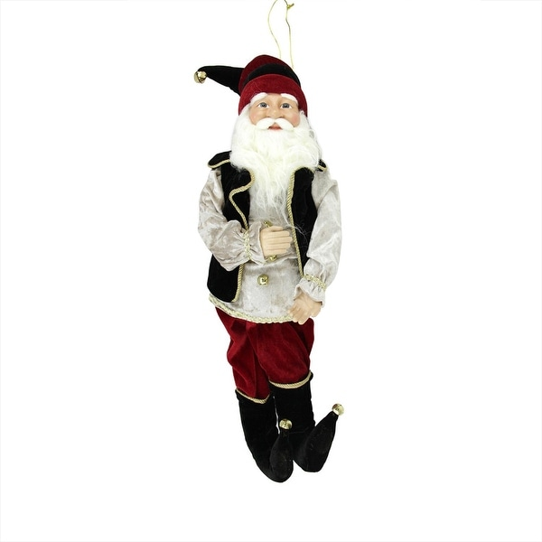 "22"" Enchanted Black and Red Poseable Whimsical Christmas Elf Figure"