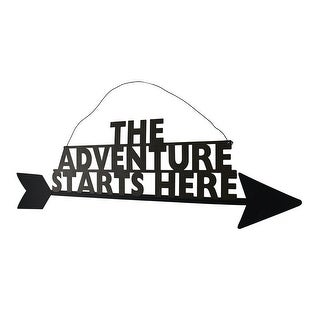 The Adventure Starts Here Metal Arrow Wall Hanging 24 Inch - brown