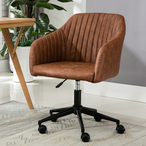 Porthos Home Madison Office Desk Chair, Tufted PU Leather Upholstery