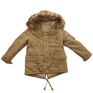 Richie House Little Boys Dark Khaki Faux Hood Padding Jacket 6-8