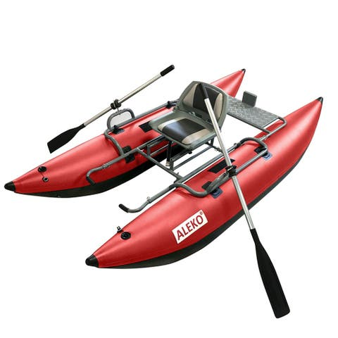 ALEKO Inflatable Personal Fishing 10 ft Pontoon Boat with Swivel Seat Red