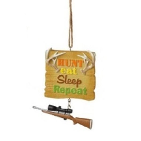 """3.25"""" Funny """"Hunt Eat Sleep Repeat"""" Quote Plaque Christmas Ornament"""