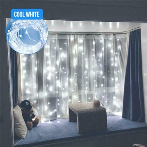 300 LED Curtain Lights String USB Powered Waterproof Twinkle Wall Lights White - Yellow - L