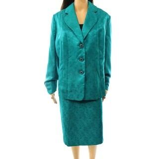 Kasper NEW Green Jade Women's Size 24W Plus Jacquard Skirt Suit Set