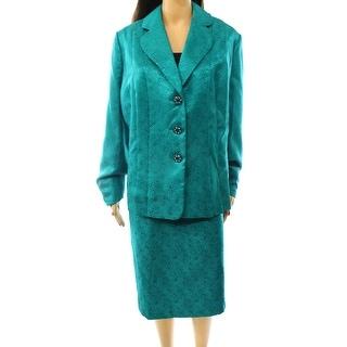 Kasper NEW Green Women's Size 16W Plus Metallic Jacquard Skirt Suit