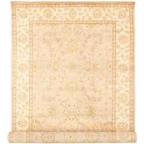 ECARPETGALLERY Hand-knotted Peshawar Oushak Grey, Ivory Wool Rug - 8'1 x 20'4