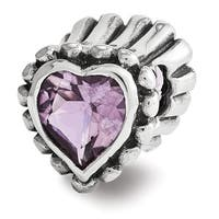 Sterling Silver Reflections Amethyst Heart Bead (4mm Diameter Hole)