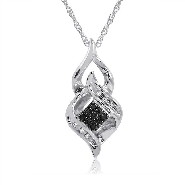Black and White Diamond Pendant - Necklace in .925 Sterling Silver