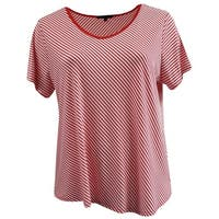 5a8adba88f9c4 Shop Plus Size Short Sleeve Stripe T Shirt Summer Top Tee Blue 17056 ...