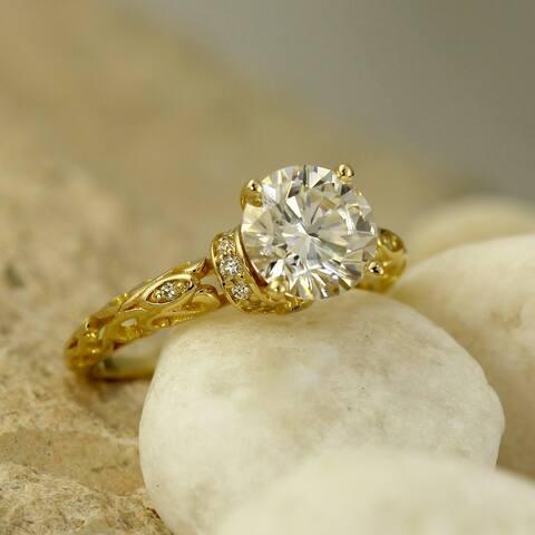 Auriya 14k Gold 2 carat Vintage Moissanite and Diamond Engagement Ring 1/8ctw
