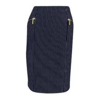 MICHAEL Michael Kors Women's Pinstripe Pencil Skirt (New Navy, 4)