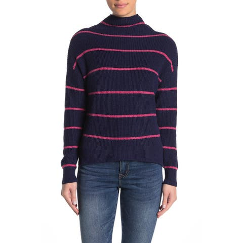 Abound Women's Sweater Blue Size Large L Turtleneck Striped Long Sleeve
