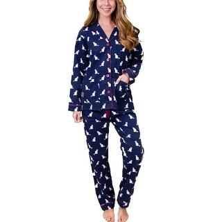 PJ Salvage Cats Flannel Pajama Set - Navy