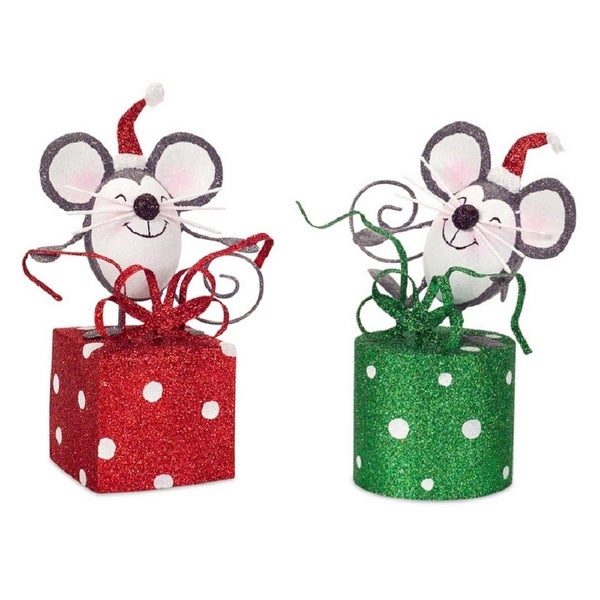 Pack of 6 Decorative Gray, White and Red Cheerful Wrapping Mice Table Top Decoration 7.5""