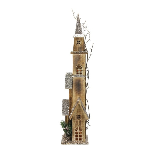 "28"" LED Lighted Tall Rustic Brown Wooden Church Christmas Decoration"