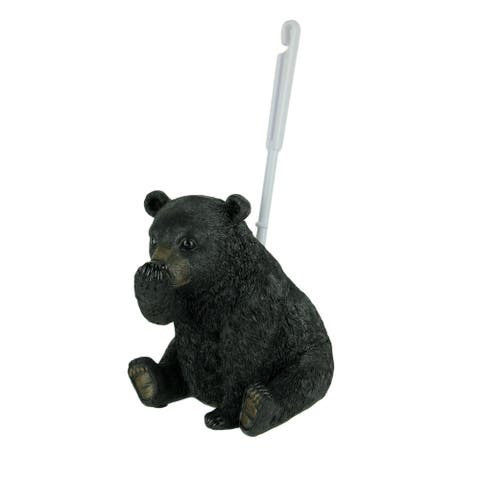 Stinky Pete Black Bear Holding Nose Rustic Toilet Brush and Holder Set - 14.25 X 7.5 X 6.75 inches