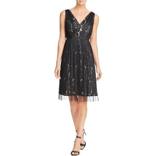 Adrianna Papell Womens Evening Dress Lace V-Neck