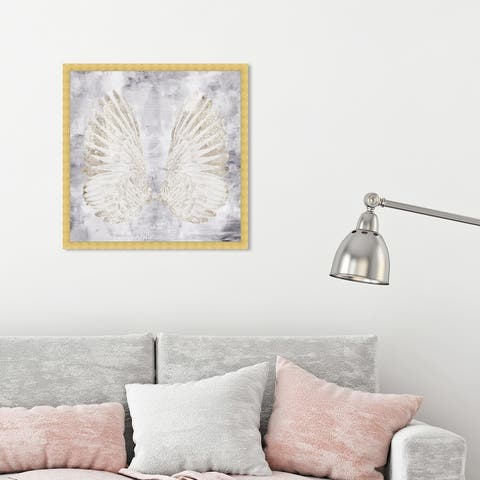 Oliver Gal 'My Amethyst Angel Wings' Fashion and Glam Framed Wall Art Prints Feathers - White, Gray