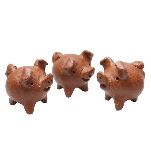 Ceramic Three Legged Good Luck Pig Sculptures From Chile Set Of 3 Brown