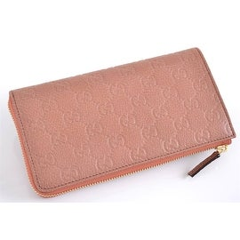 NEW GUCCI 332747 SALMON PINK LEATHER DONNA GG GUCCISSIMA ZIP COIN WALLET CLUTCH