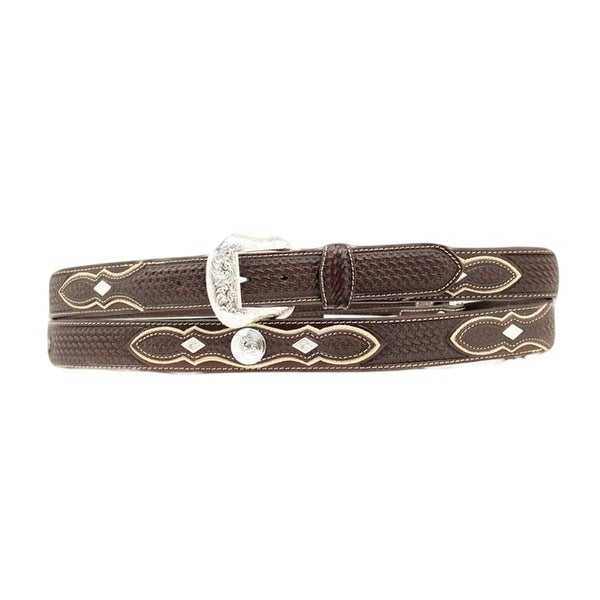 Nocona Western Belt Mens Leather Tooled Diamond Conchos Black