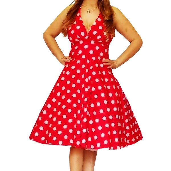 Funfash Plus Size Women White Dots Red Rockabilly Dress Made in USA