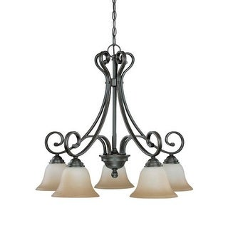 """Nuvo Lighting 60/2743 Montgomery 5 Light 26.5"""" Wide Chandelier with Champagne Linen Glass Shades"""