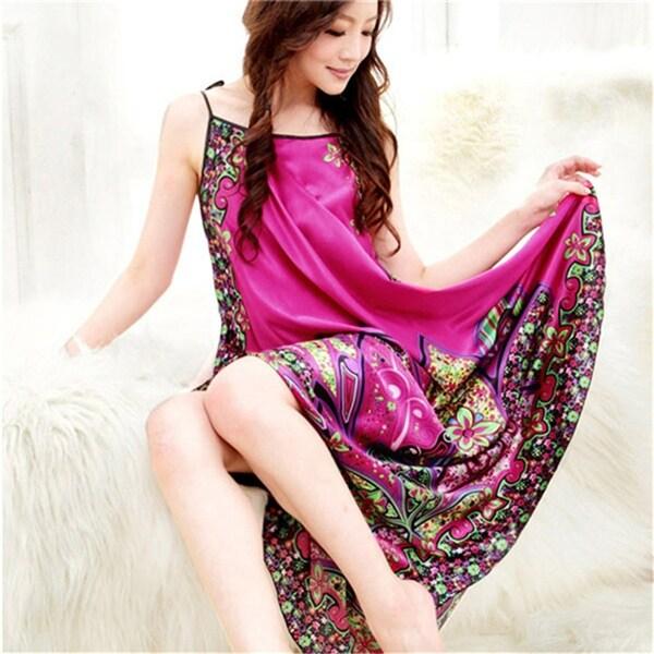 Sexy Women Imitated Silk Sleepwear Robes Dress Night Skirt Nighty  Nightgowns Hot Color Rose Red Yellow cd6cbd3b6