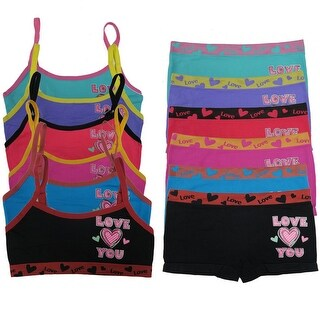 "Girl's 6 Pack Seamless ""Love You"" Print Underwear Set"