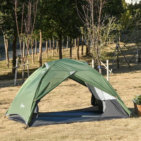 Outsunny 2 Person Camp Backpacking Tent with Water-Fighting Polyester Rain Cover, 4 Mesh Windows for Air, & Carry Bag
