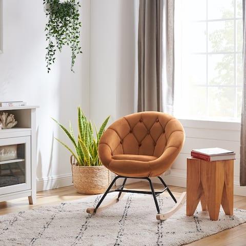 Art-Leon Modern Velvet Tufted Back Round Accent Rocking Chair for Teenager