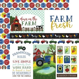 "Down On The Farm Double-Sided Cardstock 12""X12""-Journaling Cards"